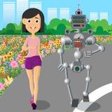 Sports de jeu de jeune femme avec un robot illustration de vecteur
