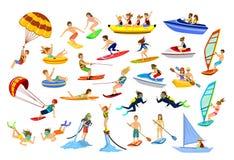 Sports de plage de l'eau d'été, activités illustration libre de droits