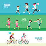 Sports design health concept people exercise set  Royalty Free Stock Images