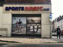 Sports Direct store, london. Sports Direct International plc is a British retailing group. Established in 1982 by Mike Ashley, the company is the United Kingdom` stock photography