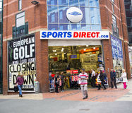 Sports Direct Shop in Leeds City Centre. The front of a typical Sports Direct shop in England.  This shop is located on Lands Lane in Leeds and is currently Royalty Free Stock Photo