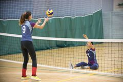 Sports for disabled people. Two young women playing volleyball. stock photography