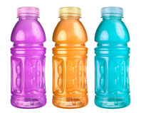 Sports Drink Set Isolated. A close up on a set of isolated sports drink bottles Royalty Free Stock Images