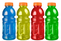 Sports Drink Set Isolated. A close up on a set of isolated sports drink bottles Royalty Free Stock Photography