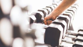 Sports dumbbells in modern sports club.  Royalty Free Stock Photo