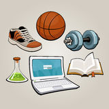 Sports and educational student set Stock Photos