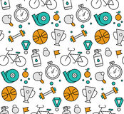 Sports elements seamless icons pattern Stock Images