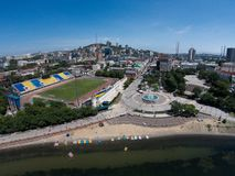 The sports embankment of Vladivostok taken from a height. The big fountain in Vladivostok.  royalty free stock photos