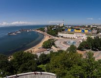 The sports embankment of Vladivostok taken from a height. The big fountain in Vladivostok.  royalty free stock image