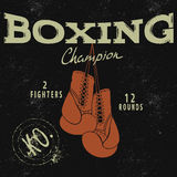 Sports emblem with two boxing gloves. Vintage style.Prints design for t-shirts Stock Image