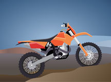 Sports enduro bike for extreme trips through the mountains. tech design. against the backdrop of mou. Vector illustration of a flat sports enduro bike for Stock Photography