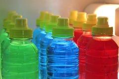 Sports energy drinks in fridge. royalty free stock photo