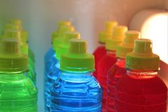 Sports energy drinks in the fridge. royalty free stock photography
