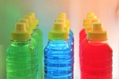 Sports energy drinks in the fridge. stock photo