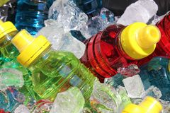 Sports energy drinks on ice. royalty free stock photography