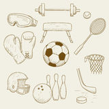 Sports equipment. Vector illustration of objects on the topic of sports Royalty Free Stock Image