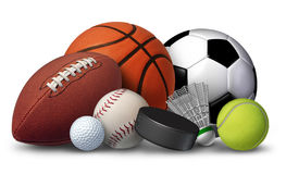 Sports Equipment. With a football basketball baseball soccer tennis and golf ball and badminton hockey puck as recreation and leisure fun activities for team Stock Image