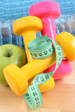 Sports equipment. Dumbbells water and blue towel stock photo