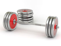 Sports equipment. Metal weight for weightlifting on white background Royalty Free Stock Photo