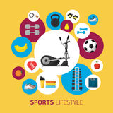 Sports equipment background, vector flat icon Royalty Free Stock Photo
