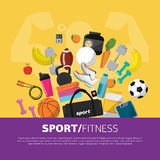 Sports equipment background, vector flat icon Stock Images
