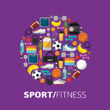 Sports equipment background, vector flat icon Royalty Free Stock Images