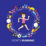 Sports equipment background, vector flat icon Stock Photography