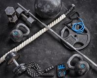 Sports equipment on a black background. Top view. Motivation. Close up Stock Photo