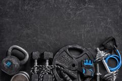 Sports equipment on a black background. Top view. Motivation. Close up Stock Image