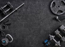 Sports equipment on a black background. Top view. Motivation. Copy space Stock Photo