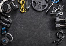 Sports equipment on a black background. Copy space. Sports equipment on a black background. Top view. Motivation. Copy space Royalty Free Stock Photo