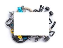 Sports equipment with board for copy space on a white background. Top view. Motivation Stock Image