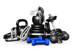 Sports equipment for bodybuilding royalty free stock photos