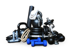 Sports equipment for bodybuilding. Collected in a heap stock photos