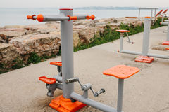 Sports equipment on the city street. The concept of a healthy lifestyle and accessibility of sports training for every. Person. Available sports equipment Royalty Free Stock Image