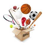 Sports equipment collection out of box Royalty Free Stock Image