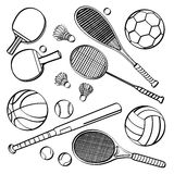 Sports Equipment Collections. Different kinds of sports equipment in sketch style. It contains hi-res JPG, PDF and Illustrator 9 files Royalty Free Stock Images