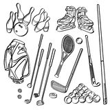 Sports Equipment Collections. Different kinds of sports equipment in sketch style. It contains hi-res JPG, PDF and Illustrator 9 files Stock Image