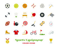 Sports equipment color icons vector set. Collection of 25 sports and gymnastics color vector icons on white background Royalty Free Stock Photos
