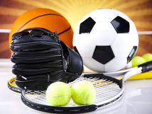 Sports Equipment detail. Sports Equipment and sunshine, vivid colorful theme Stock Photo