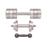 Sports equipment - different weight dumbbells on a white Stock Photo