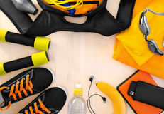 Sports equipment for fitness. Athletic frame Royalty Free Stock Photos