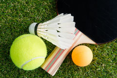 Sports equipment on grass Stock Photo