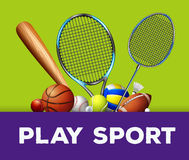 Sports equipment on green background Royalty Free Stock Image