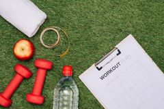 Sports equipment on green grass background royalty free stock images