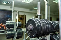 Sports equipment. In the gym Royalty Free Stock Photos