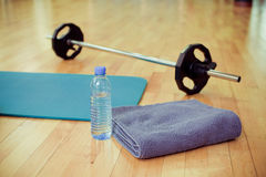 Sports equipment. The sports equipment in gym Royalty Free Stock Image