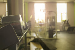 Sports equipment in the gym for exercise Stock Photography