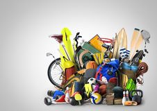 Sports equipment. Has fallen down in a heap Royalty Free Stock Photography