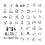 Sports, sports equipment, healthy lifestyle icons set Stock Photography